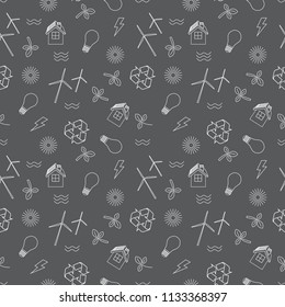 Eco related seamless print.  Contains symbols for different types of electricity generation: wind generators, solar panels, biofuel, hydropower.  Alternative energy concept.