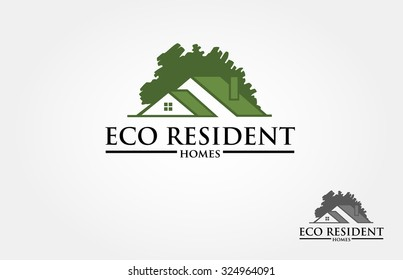 Eco Resident Vector Logo Template. Vector logo design template of oak tree and house that made from a simple silhouette of tree. it's good for symbolize a property or housing business.