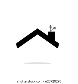 Eco roof icon. ecologically friendly symbol. Flat design. Vector Illustration.