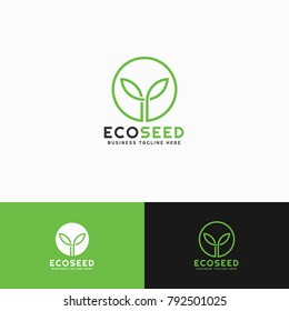 Eco seed is a nature plant logo with line art concept & minimalist style