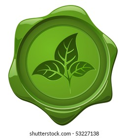 Eco sign. Green wax seal with leaves shape isolated on white.