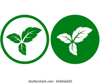 eco sign with three green leaves icon