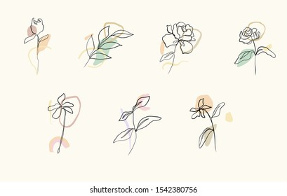 Eco simple logo. Minimalism line drawing. Flowers one line continuous art