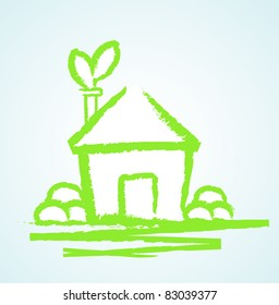 eco sketch house vector