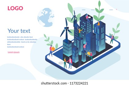 Eco Smart city Concept for web page, banner, presentation, social media. Vector illustration, intelligent building Engineering systems, Eco-friendly housing complex, windmills, on mobile phone.