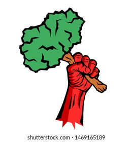 Eco socialism / eco-socialism - socialist red raised fist is holding green tree and plant - ideology, poltics and movement of left ecology. Vector illustration