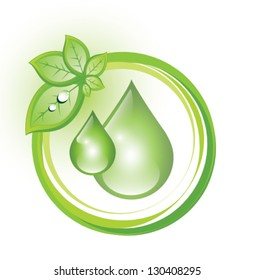 Eco symbol with drops and a cluster of leaves