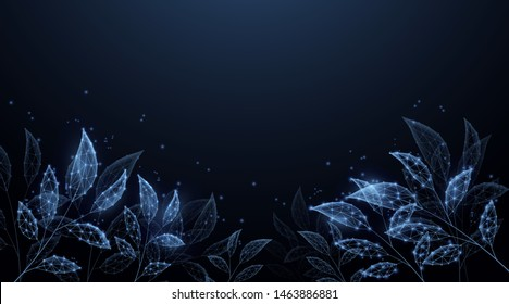 Eco technology background. Digital leaves form lines, triangles and particle style design. Illustration vector