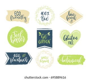 Eco templates with hand lettering for logo and banners of healthy products and organic food