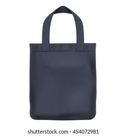 Eco textile black tote shopper bag vector illustration. Good for branding design.
