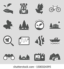 Eco Tourism Icons. Sticker Design. Vector Illustration.
