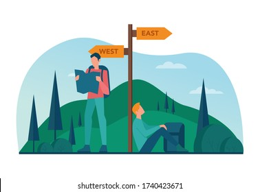 Eco tourism and eco traveling concept. Eco friendly tourism in wild nature, Hicking and canoeing. Tourist with backpack and tent. Vector illustration.