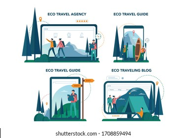 Eco tourism and eco traveling online service or platform on different device set. Eco friendly tourism in wild nature. Hicking and canoeing. Blog, website and guide. Vector illustration.