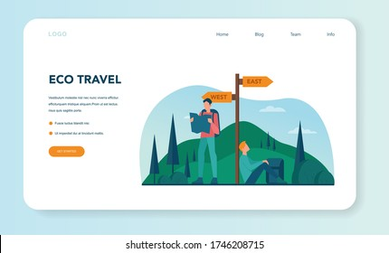 Eco tourism and eco traveling web banner or landing page. Eco friendly tourism in wild nature, Hicking and canoeing. Tourist with backpack and tent. Vector illustration.