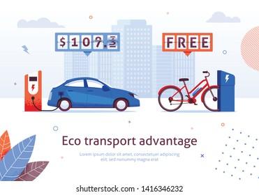 Eco Transport Advantage. Electric Car Charging Station. E-bike Free Recharge Vector Illustration. Alternative Transport. Ecological Automobile Bike Environment Protection. Money Savings