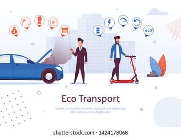 Eco Transport. Man Ride Electric Scooter Vector Illustration. Petrol Engine Car Disadvantages. Air Pollution Exhaust Gas Environment Problem. Ecological Vehicle Advantages. Green Transport