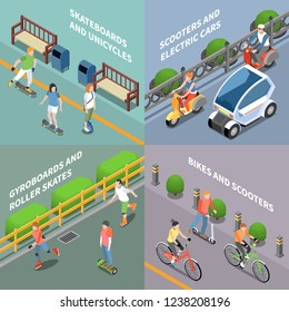 Eco transportation concept icons set with bike and scooter isometric isolated vector illustration