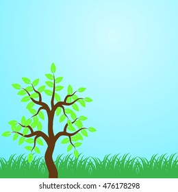 Eco Tree, Isolated On Blue Background