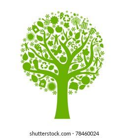 Eco Tree, Isolated On White Background, Vector Illustration