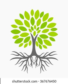 Eco tree with roots. Vector illustration