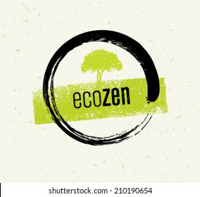 Eco Tree Zen Circle Organic Design Element on Recyclable Paper Background
