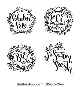 Eco vector organic labels, bio emblems for stickers and restaurants menu, natural products packaging. Gluten free, vegan, locally grown eco friendly ink stamps on white, fresh raw healthy food.