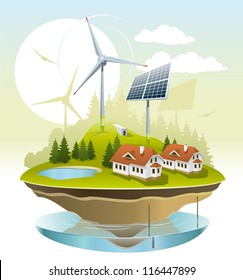 Eco village. Illustration of green energy for the house on a small plot of land.