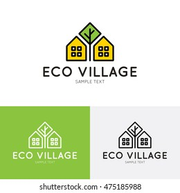 Eco Village logo design template. Vector real estate bio house sign logotype icon. Bright flat ecologic home symbol with green tree. Organic housing label for health life