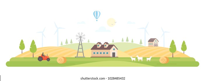 Eco village - modern flat design style vector illustration on white background. A high quality composition with a barn, house, field, windmills, tractor, haystacks, goats. Organic farming concept