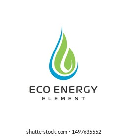 Eco Water drop leaf Logo design vector template. Natural mineral clear ecology water aqua Logotype. Green Energy concept icon.