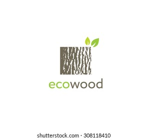 Eco Wood Creative Oak Bark Texture Sign Vector Concept
