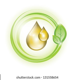 Eco yellow oil drop, EPS 10, isolated