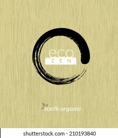 Eco Zen Circle on Organic Bamboo Texture Background. Natural Vector Concept