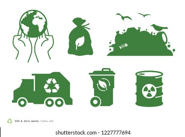 ECO Zero waste icons set