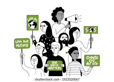 Eco-activist in the global strike for climate change. Extinction Rebellion. Group of people holding placards with slogans to protect the environment. Vector doodle illustration.