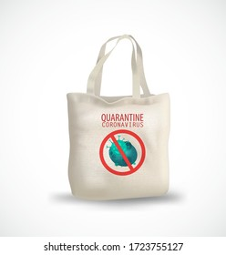 eco-bag with the inscription quarantine coronavirus. Safe and online shopping on quarantine concept. White background, copy space. All elements are isolated. Vector EPS 10