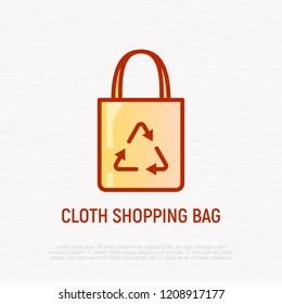 Ecobag with recycling sign thin line icon. Modern vector illustration of cloth shopping bag.
