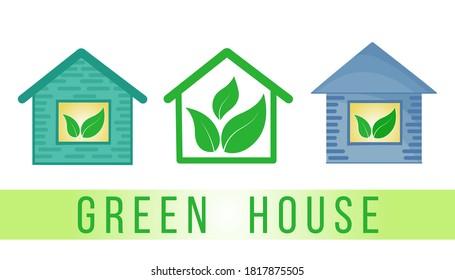 Eco-frendly green living houses logo, icon