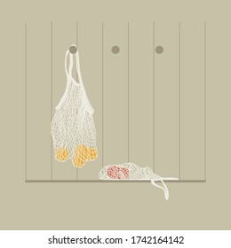 Eco-friendly bag. Bag for fruit from a grid. Bag for products. Girl with yellow shoes. Linear illustration. Modern trends, nature protection