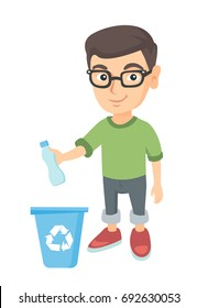 Eco-friendly caucasian boy throwing plastic bottle in recycle bin. Full length of little boy throwing plastic waste in recycling bin. Vector sketch cartoon illustration isolated on white background.