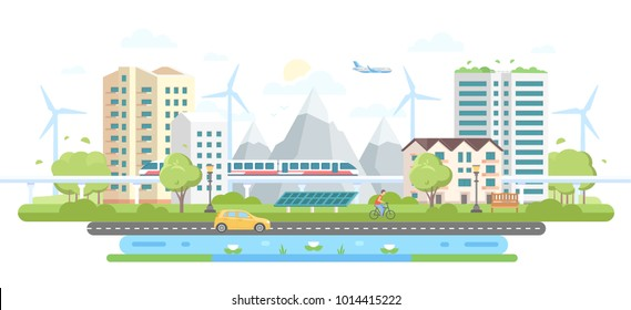 Eco-friendly city district - modern flat design style vector illustration on white background. A composition with skyscrapers, mountains, windmills, solar panels, car, pond, train, people, airplane