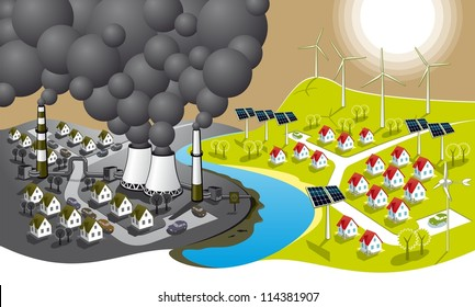 Eco-friendly city. Illustration of two cities - dirty and clean renewable energy.