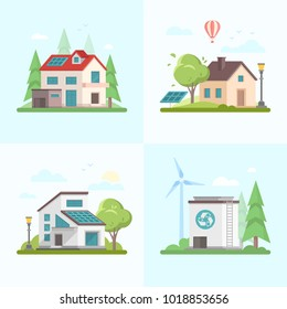 Eco-friendly complex - set of modern flat design style vector illustrations on blue background. A collection of four images of different houses, trees, barn, solar panel, windmill, recycling outlet