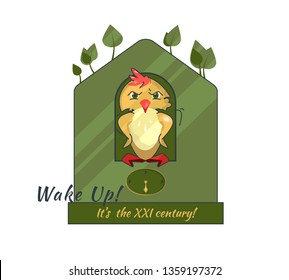 """Eco-friendly concept. Bird in Green house with the message """"Wake Up! It's the XXI century!"""" Vector illustration of a Cuckoo clock on white background. Eco Template for Flyer, Poster or Banner design."""