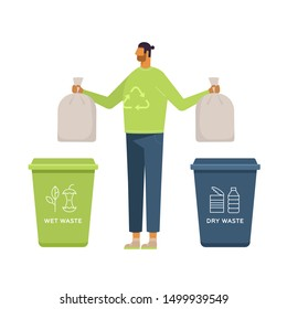 Eco-friendly concept.  Wet and dry waste. Vector illustration, flat design, isolated on white. Young man putting rubbish in trash bins. Waste Separation and Recycling. Cartoon character.