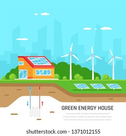 Ecofriendly family house. Green energy. Solar, wind and geothermal power. Flat style illustration. Renewable energy concept.