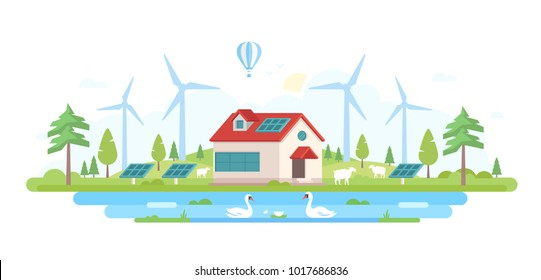 Eco-friendly farm - modern flat design style vector illustration on white background. Lovely landscape with a small building in the center, trees, windmills, pool with swans, solar panels, sheep