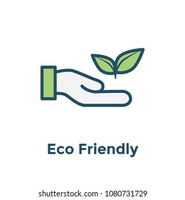 Ecofriendly hand holding plant to show environmental conservation w icon