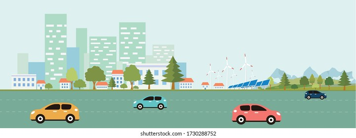 Eco-friendly housing complex - modern flat design style vector illustration on white background. Lovely cityscape with skyscrapers, windmills, solar panels, cars. Vector illustration