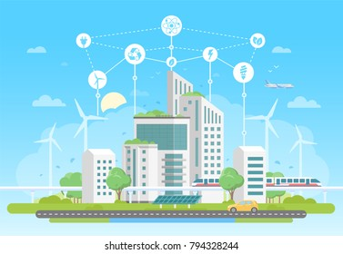 Eco-friendly housing complex - modern flat design style vector illustration on blue background with a set of icons. A cityscape with skyscrapers, solar panels, train. Recycling, saving energy concept